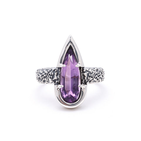 NEW | PHOENIX TEAR RING | AMETHYST & SILVER - AngelaMonacojewelry