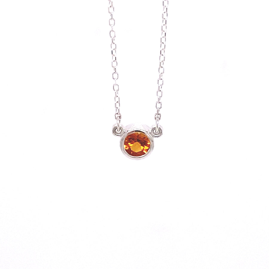 IN STOCK | BEZEL NECKLACE | STERLING SILVER & CITRINE