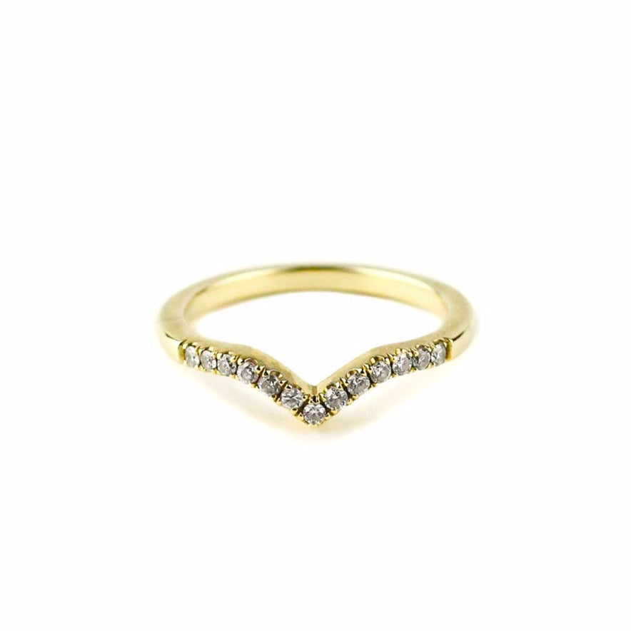 CURVED CHEVRON BAND | 14K YELLOW GOLD & WHITE DIAMONDS