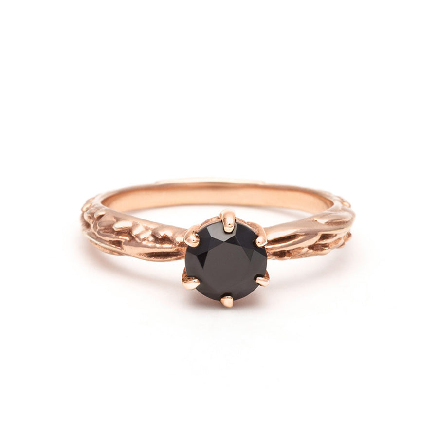 FACETED MATRIX SOLITAIRE RING | 14K ROSE GOLD & BLACK DIAMOND