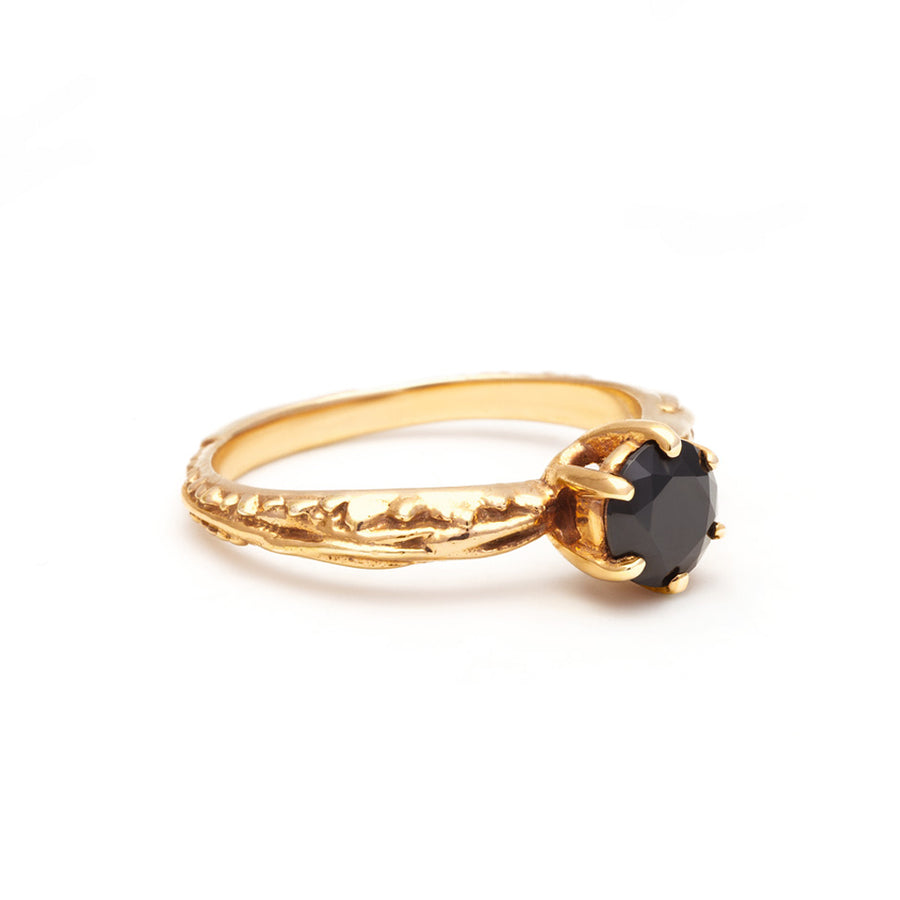 FACETED MATRIX SOLITAIRE RING | 14K GOLD & BLACK DIAMOND