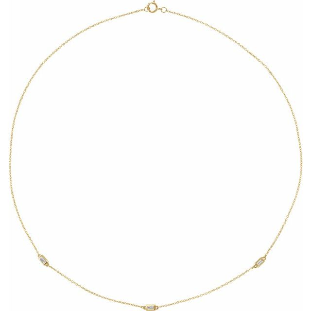 IN STOCK |  BAGUETTE DIAMOND STATION NECKLACE | 14K YELLOW GOLD