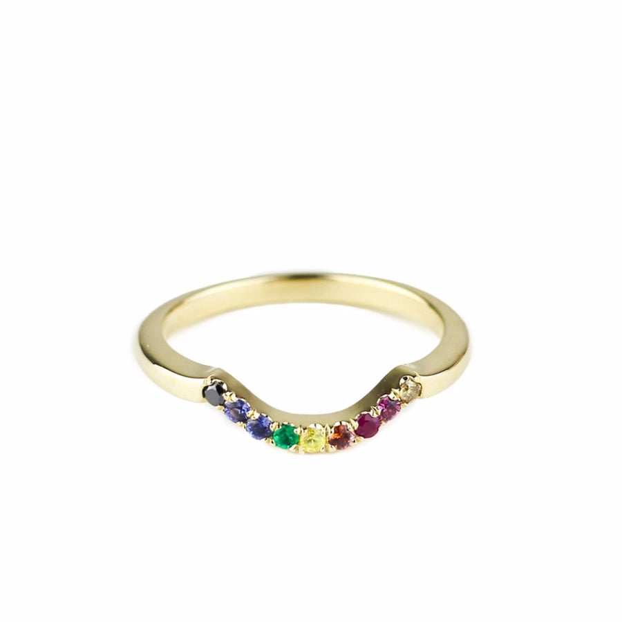 IN STOCK | FULL RAINBOW CONTOUR BAND | 14K YELLOW GOLD, SAPPHIRES & DIAMONDS
