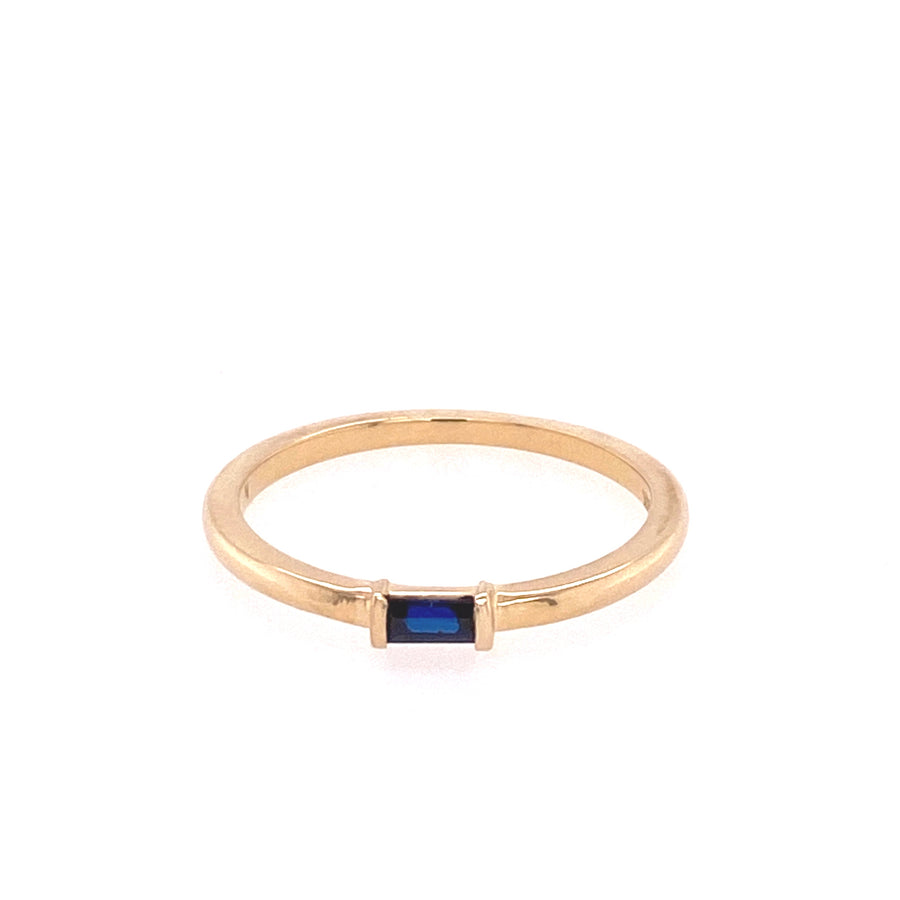 IN STOCK | BAGUETTE STACKER RING | 14K YELLOW GOLD & BLUE SAPPHIRE