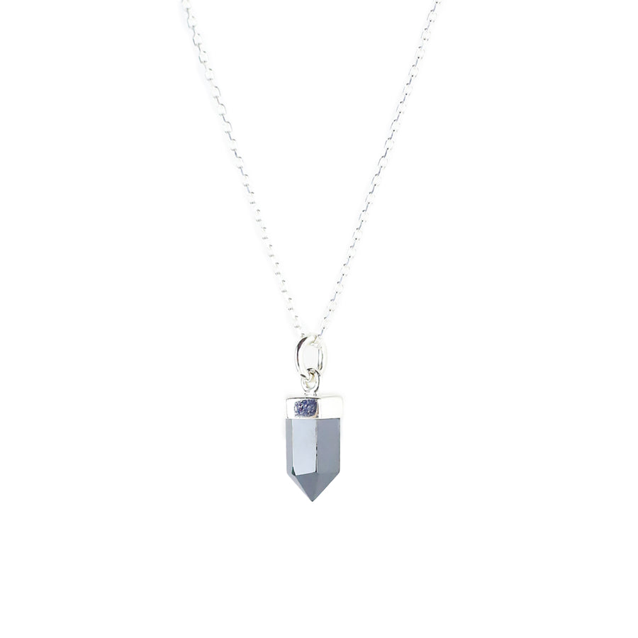 CRYSTAL POINT NECKLACE | SILVER & ANGELITE