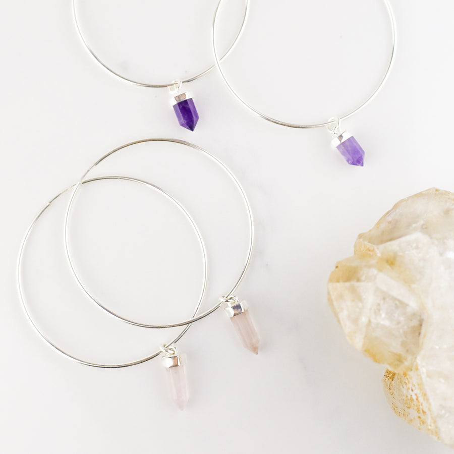 CRYSTAL HOOPS | SILVER & ROSE QUARTZ