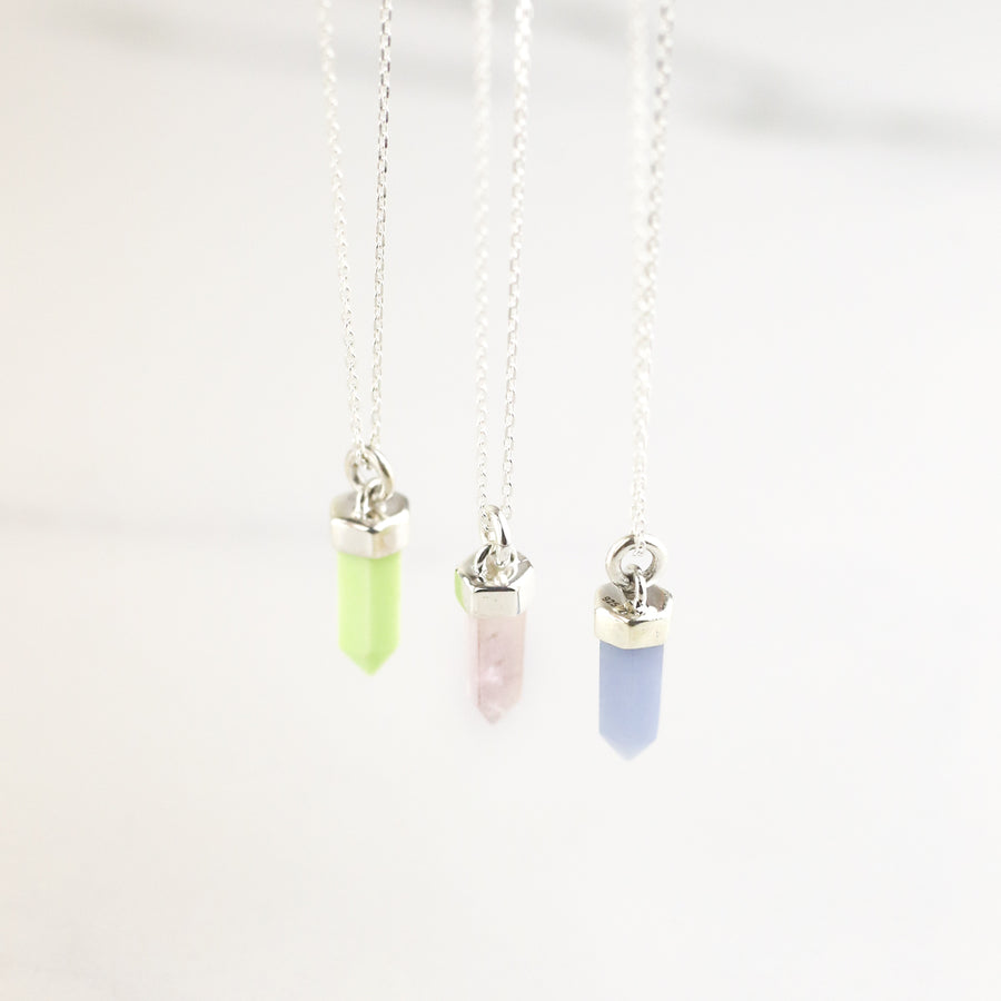 CRYSTAL POINT NECKLACE | SILVER & ROSE QUARTZ