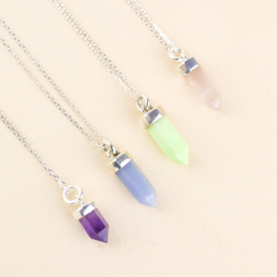 IN STOCK | CRYSTAL POINT NECKLACE | SILVER & AMETHYST