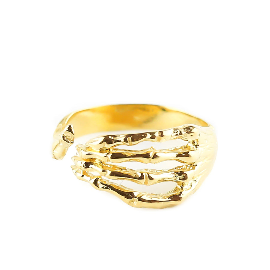 IN STOCK | SKELETON HAND RING | YELLOW GOLD VERMEIL