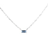 EAST WEST BAGUETTE NECKLACE | 14K WHITE GOLD & BLUE TOPAZ