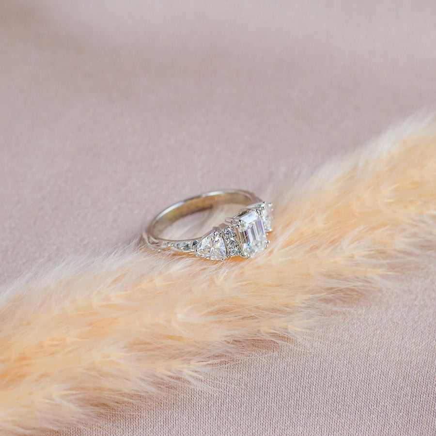 IN STOCK | BONADONNA ENGAGEMENT RING | 14K WHITE GOLD | MOISSANITE & DIAMOND