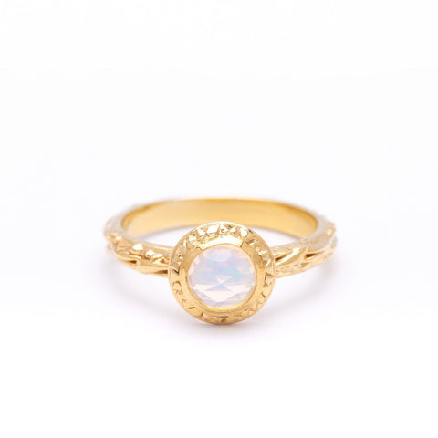 MATRIX HALO BEZEL RING | 14k GOLD & ROSE CUT OPAL - AngelaMonacojewelry