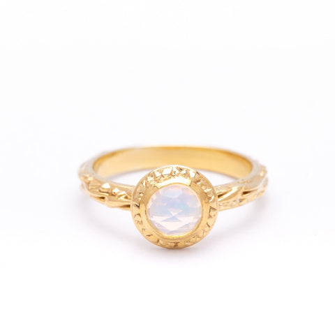 MATRIX HALO BEZEL RING | GOLD VERMEIL & ROSE CUT OPAL - AngelaMonacojewelry