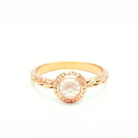 MATRIX HALO BEZEL RING | GOLD VERMEIL & ROSE CUT ROSE QUARTZ