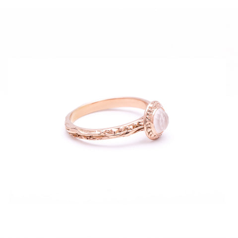 MATRIX HALO BEZEL RING | ROSE GOLD VERMEIL & ROSE CUT ROSE QUARTZ - AngelaMonacojewelry