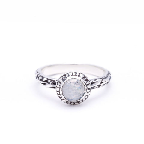 MATRIX HALO BEZEL RING | SILVER & MOONSTONE - AngelaMonacojewelry