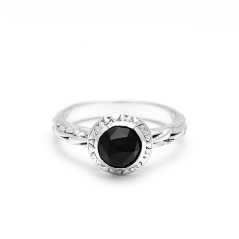 MATRIX HALO BEZEL RING | SILVER & ONYX - AngelaMonacojewelry