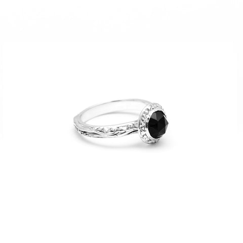 MATRIX HALO BEZEL RING | WHITE GOLD & BLACK DIAMOND - AngelaMonacojewelry