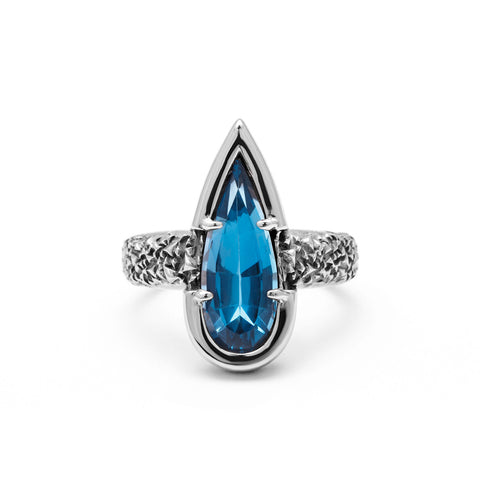 NEW | PHOENIX TEAR RING | BLUE TOPAZ & SILVER - AngelaMonacojewelry
