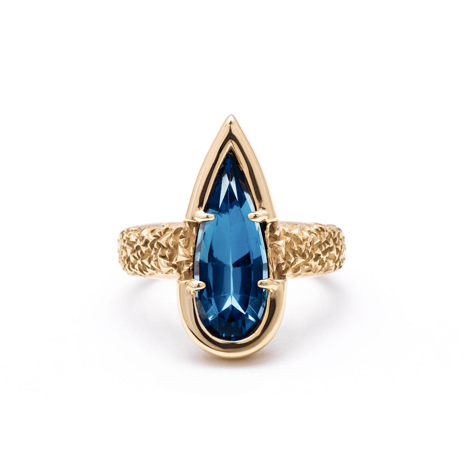 NEW | PHOENIX TEAR RING | BLUE TOPAZ & GOLD VERMEIL - AngelaMonacojewelry