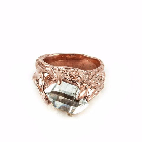 CALDERA RING | ROSE GOLD VERMEIL & HERKIMER - AngelaMonacojewelry