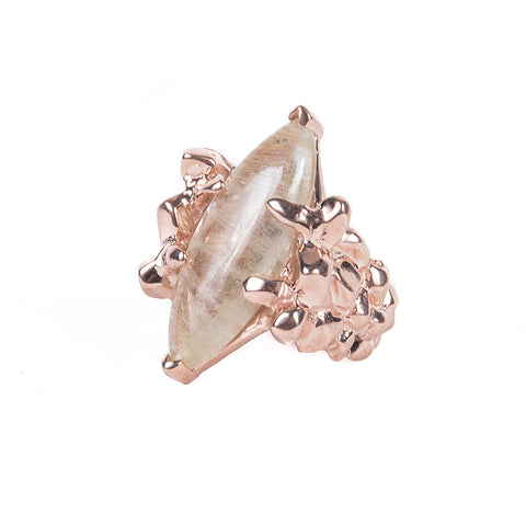 CELESTIAL EYES RING | ROSE GOLD VERMEIL & RUTILATED QUARTZ - AngelaMonacojewelry