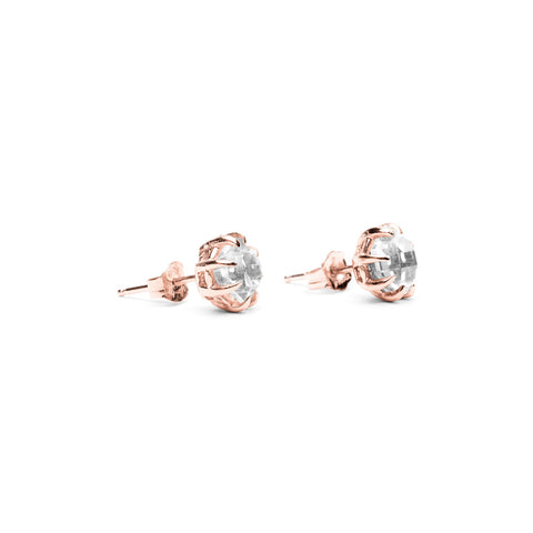 RAW STUD EARRINGS | ROSE GOLD & HERKIMER - AngelaMonacojewelry