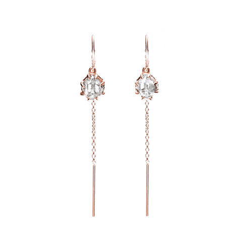 RAW U-BAR THREADER EARRINGS | ROSE GOLD & HERKIMER - AngelaMonacojewelry