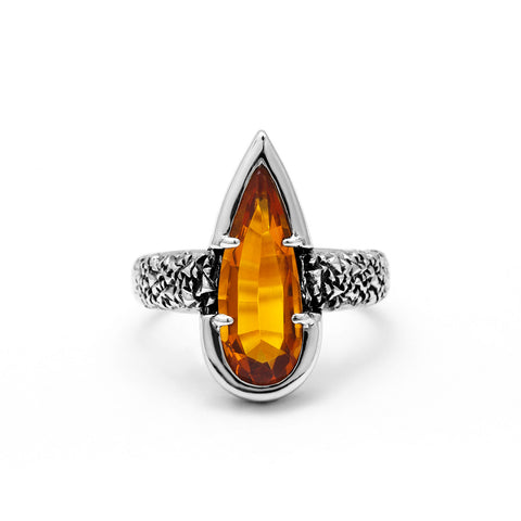 NEW | PHOENIX TEAR RING | CITRINE & SILVER - AngelaMonacojewelry