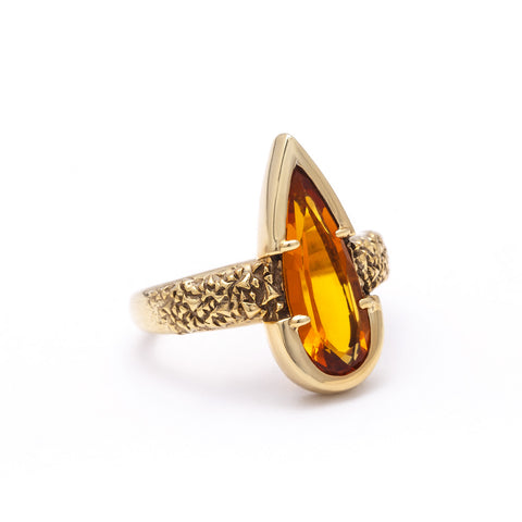 NEW | PHOENIX TEAR RING | CITRINE & GOLD VERMEIL - AngelaMonacojewelry