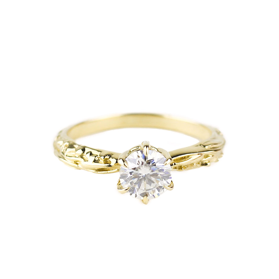 FACETED MATRIX SOLITAIRE RING | 14K YELLOW GOLD & LAB CREATED DIAMONDS