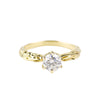 FACETED MATRIX SOLITAIRE RING | 14K YELLOW GOLD & MOISSANITE