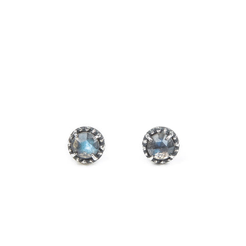 Earrings - LABRADORITE HALO STUDS IN SILVER