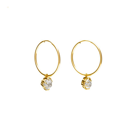 RAW HOOP EARRINGS | 14k GOLD & HERKIMER - AngelaMonacojewelry