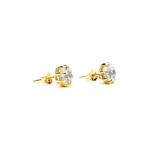 RAW STUD EARRINGS | 14k GOLD & HERKIMER - AngelaMonacojewelry