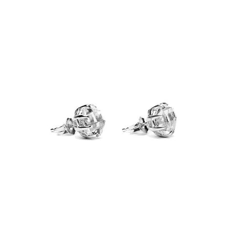RAW STUD EARRINGS | SILVER & HERKIMER - AngelaMonacojewelry