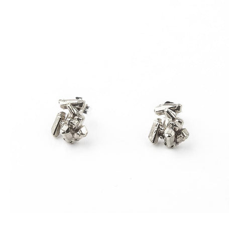 ROCK CANDY CAST CRYSTAL STUDS | SILVER - AngelaMonacojewelry