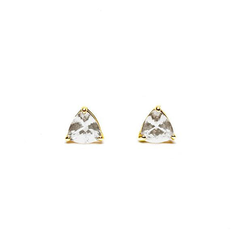 TRILLION STUD EARRINGS | 14k GOLD & HERKIMER - AngelaMonacojewelry
