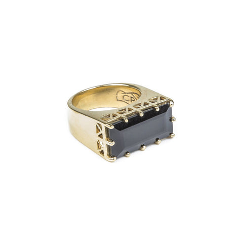 EAST WEST CROWN RING | GOLD VERMEIL & ONYX - AngelaMonacojewelry