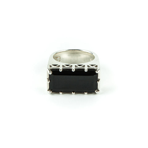 EAST WEST CROWN RING | SILVER & ONYX - AngelaMonacojewelry