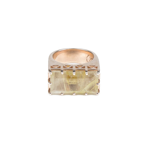 EAST WEST CROWN RING | ROSE GOLD VERMEIL & RUTILATED QUARTZ - AngelaMonacojewelry