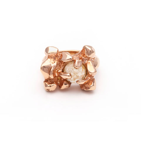 ELIXIR COCKTAIL RING | ROSE GOLD VERMEIL & RUTILATED QUARTZ - AngelaMonacojewelry