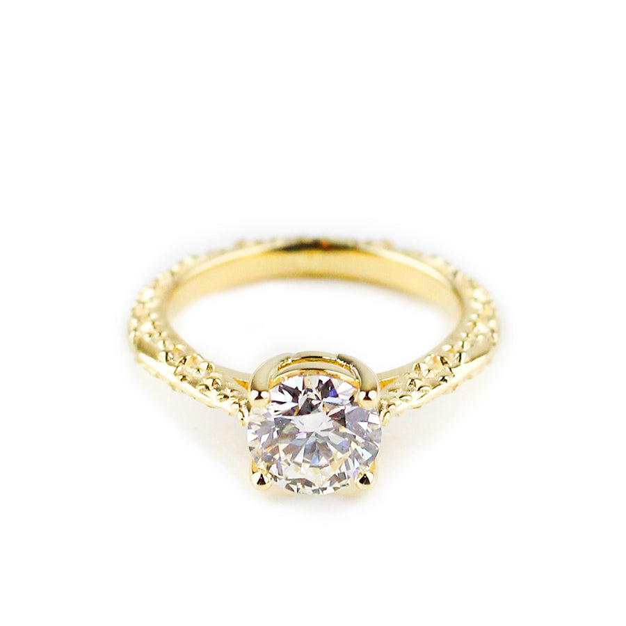 MESA SOLITAIRE ENGAGEMENT RING | 14K YELLOW GOLD & LAB CREATED DIAMONDS