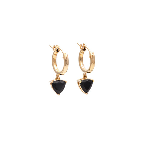 EROS TRILLION HOOP EARRINGS | GOLD VERMEIL AND ONYX - AngelaMonacojewelry