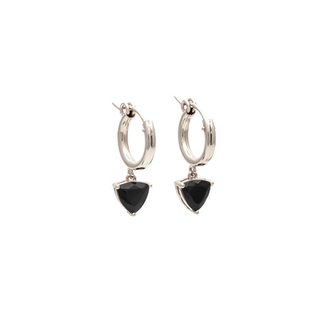 EROS TRILLION HOOP EARRINGS | SILVER & ONYX