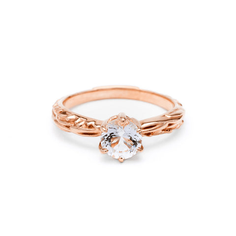 FACETED MATRIX SOLITAIRE RING | ROSE GOLD - AngelaMonacojewelry