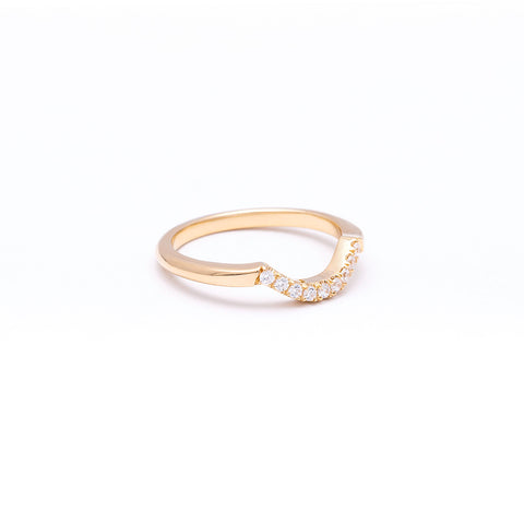 NEW | PAVE ARC 9 STONE CONTOUR BAND | 14k GOLD & DIAMOND - AngelaMonacojewelry
