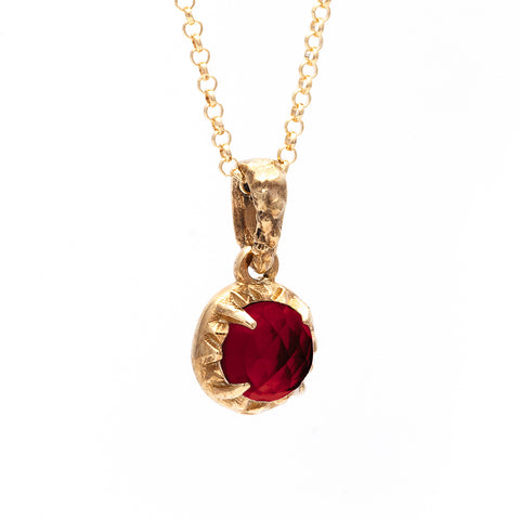 MATRIX HALO NECKLACE | GOLD VERMEIL & GARNET - AngelaMonacojewelry