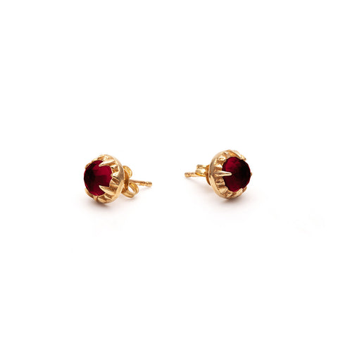MATRIX HALO STUDS | GOLD VERMEIL & GARNET - AngelaMonacojewelry