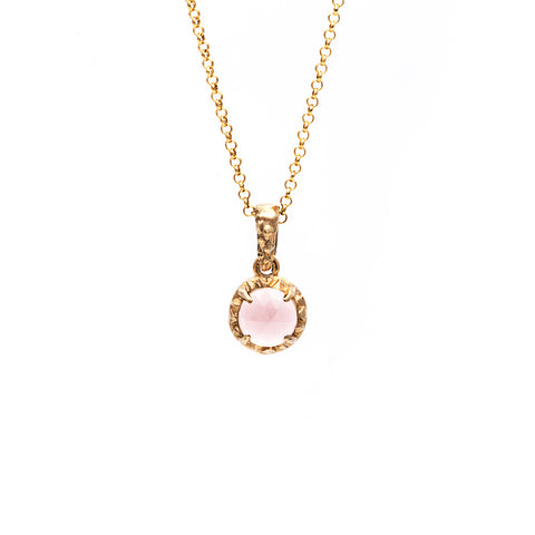 MATRIX HALO NECKLACE | 14k GOLD & ROSE QUARTZ - AngelaMonacojewelry